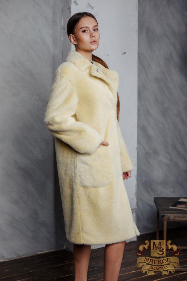 Пальто женское из экомеха норки Simakhov SM32