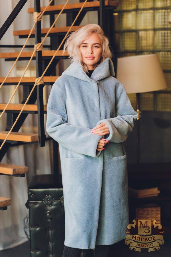 Пальто двустороннее с капюшоном из экомеха