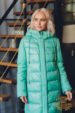 Пуховик зимний Аляска с капюшоном мята