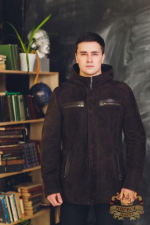 Куртка овчиная с отделкой кожей Pandas 3201-A