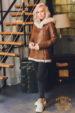 Дубленка женская с капюшоном и косым замком