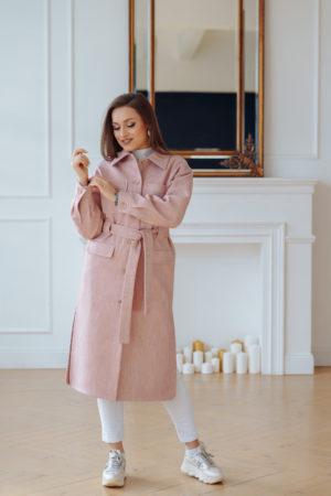 Пальто женское демисезонное 22107 (розовый)