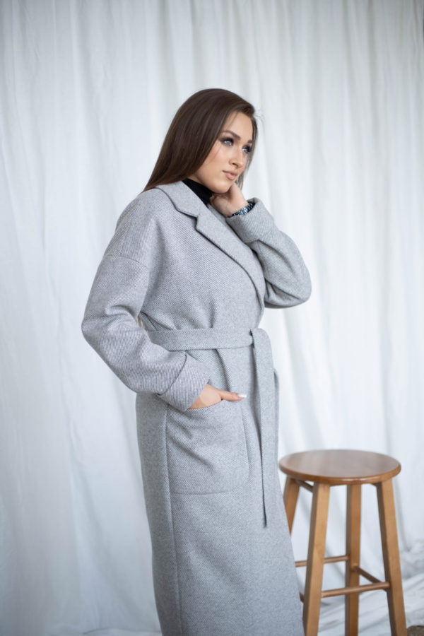 Пальто женское демисезонное 20550 (серый/диагональ)
