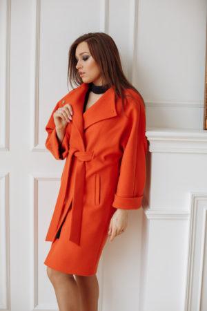 Пальто женское демисезонное 20110 (охра)