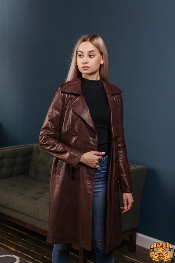 Пальто женское кожаное OKSA