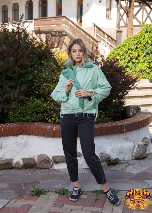 Куртка женская джинсовая с отделкой из меха норки SOFI FURS ALEX GROUP ТВ