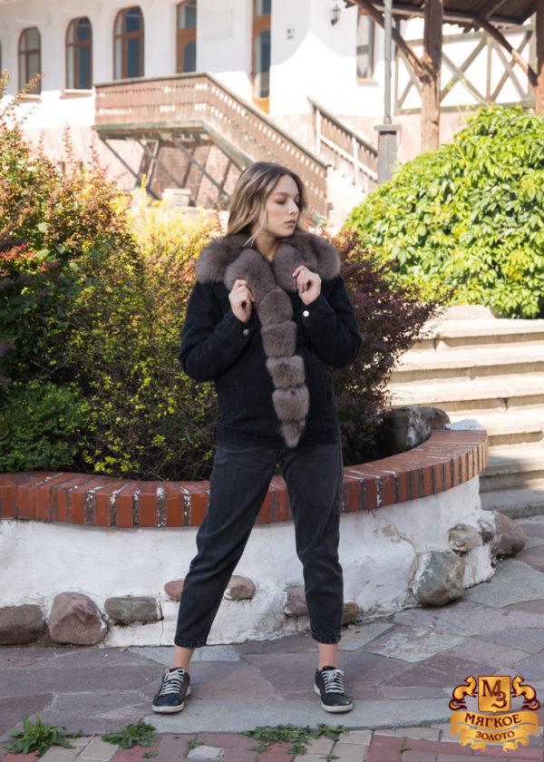 Куртка женская джинсовая с отделкой из меха песца SOFI FURS ALEX GROUP ГАП