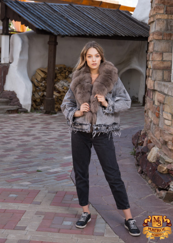 Куртка женская джинсовая с отделкой из меха песца SOFI FURS ALEX GROUP ТВП