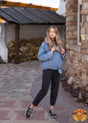 Куртка женская джинсовая с отделкой из меха песца SOFI FURS ALEX GROUP СВП